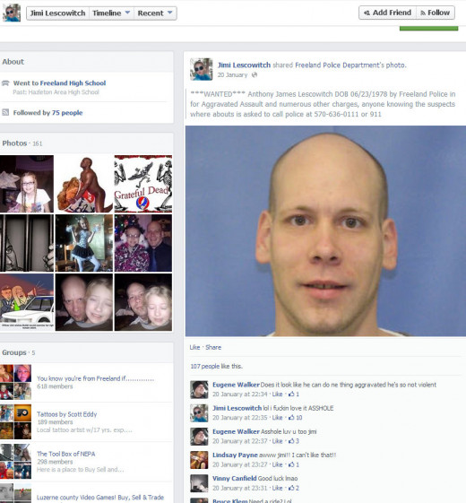 Wanted Poster - This is a screenshot of the Wanted poster that Lescowitch shared to his Facebook page