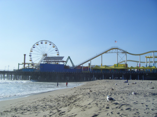 The Santa Monica Pier as seen from the beach