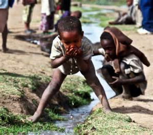Clean water in most regions is hard to find.