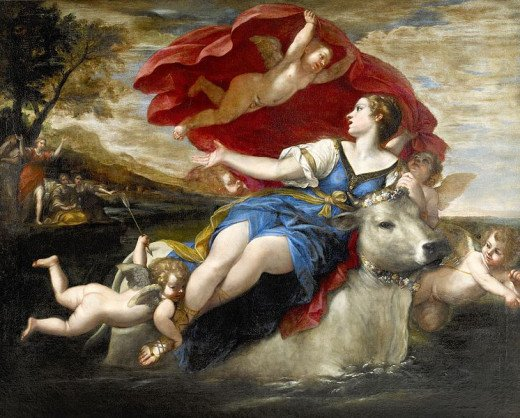 """Jupiter in the shape of a bull carrying off Europa,"" by Francesco Albani"