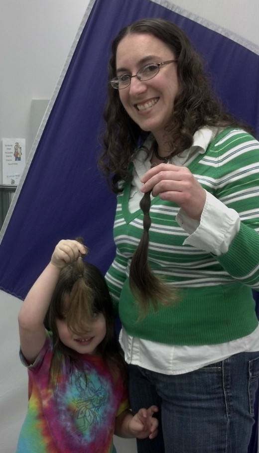 Getting our hair cut to donate!