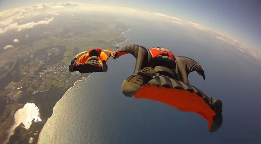 Wingsuit flying gives an aerial view of the world.