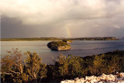 A view of Thunder-ball Grotto from the hills of Staniel Cay.