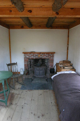 Inside of Thoreau's cabin, or what his cabin was thought to look like