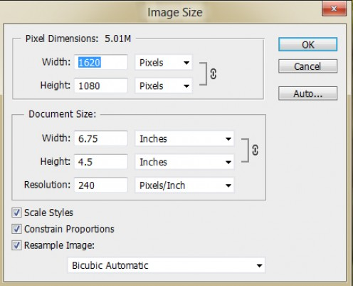 Changing the image size of an image in Photoshop.