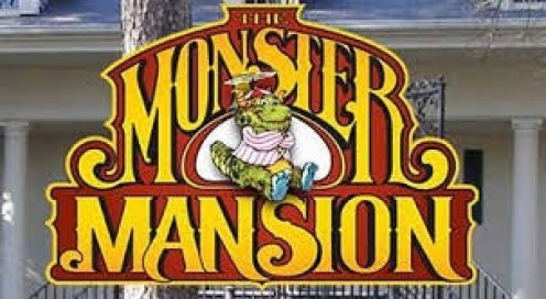 The Monster Mansion is a haunted house that you ride through in the water on a log ride.