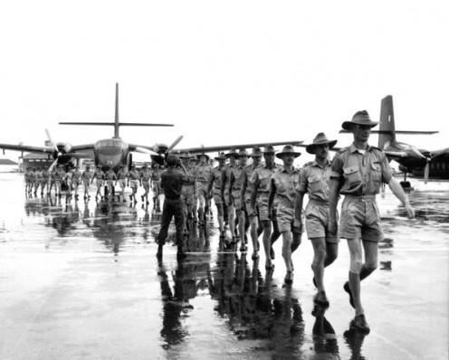 Australian troops arriving in Saigon in 1964