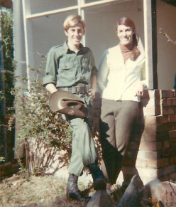 The author in army cadet jungle greens aged 13, with Mum.