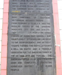 Plaque at Khe Sanh Combat Base where over 2000 US and South Vietnamese troops were killed between January and July 1968