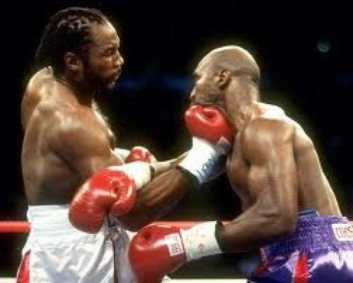 Lennox Lewis, seen landing a big uppercut on Evander Holyfield, was a heavy handed boxer.