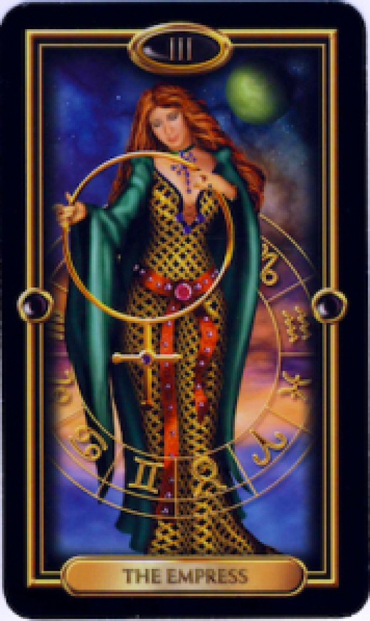 """An """"Empress"""" Tarot card that has similar resemblances to Mary, mother of Jesus."""