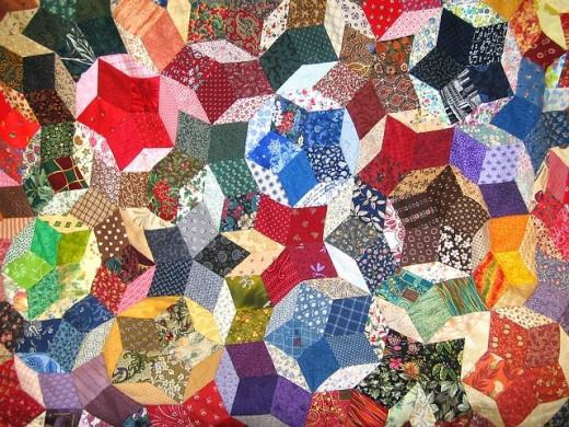 Penrose tiling patchwork quilt