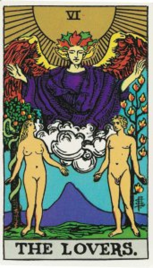 "The most common Tarot card of ""The Lovers."""
