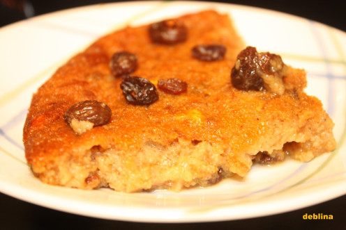 The kiss of raisins make the slice of this pudding all the more tempting