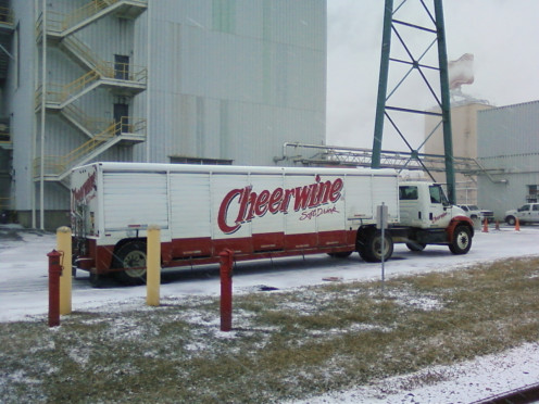 Neither rain nor snow will stop the Cheerwine truck.