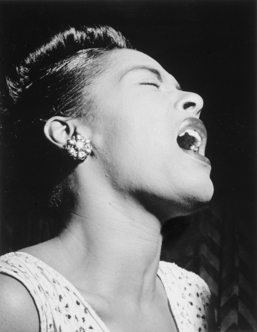 1947 portrait of Billie Holiday taken for Down Beat magazine.