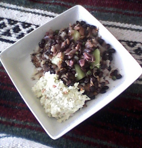 Black Bean-Honeydew Chili, with some cole slaw on the side.