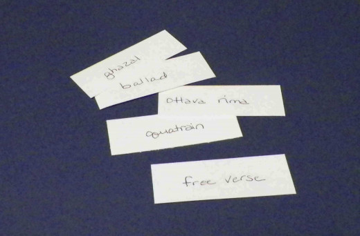 Slips of paper of poetry forms