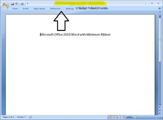 Microsoft Office 2010 minimum ribbon.