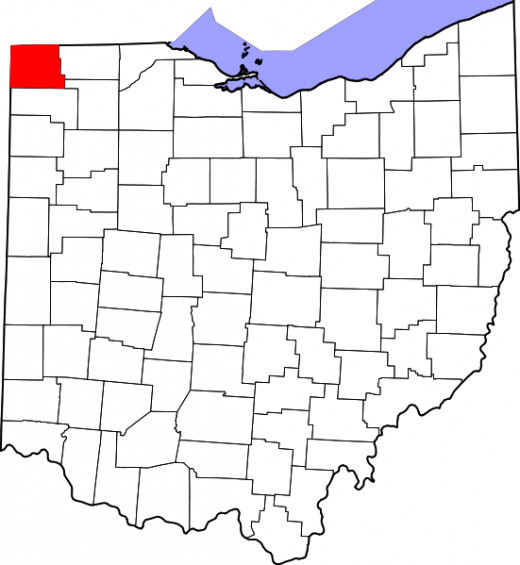 Location of Williams County, Ohio. Michigan lies to the north, Indiana to the west.