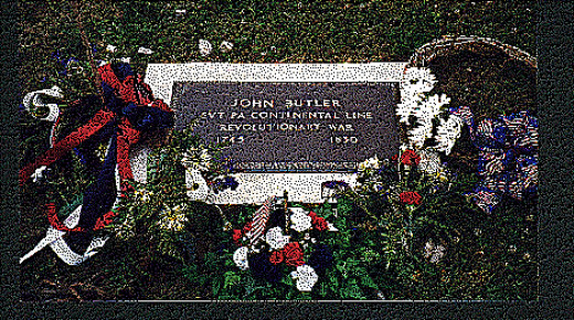 Cemetery marker placed by the Sons of the American Revolution to honor John Butler, Revolutionary Soldier