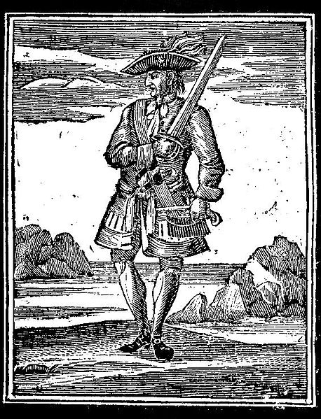 18th-century woodcut of Rackham from Charles Johnson's book of pirates.