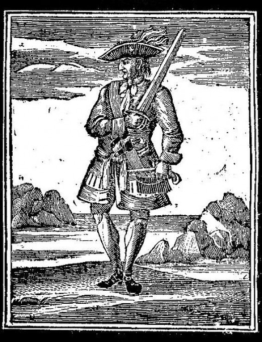 18th-century woodcut of Rackham from Charles Johnson's book of pirates.