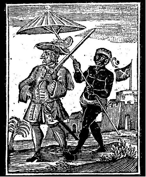 A woodcut from A General History of the Pyrates (1725) showing an enslaved man escorting Captain Every
