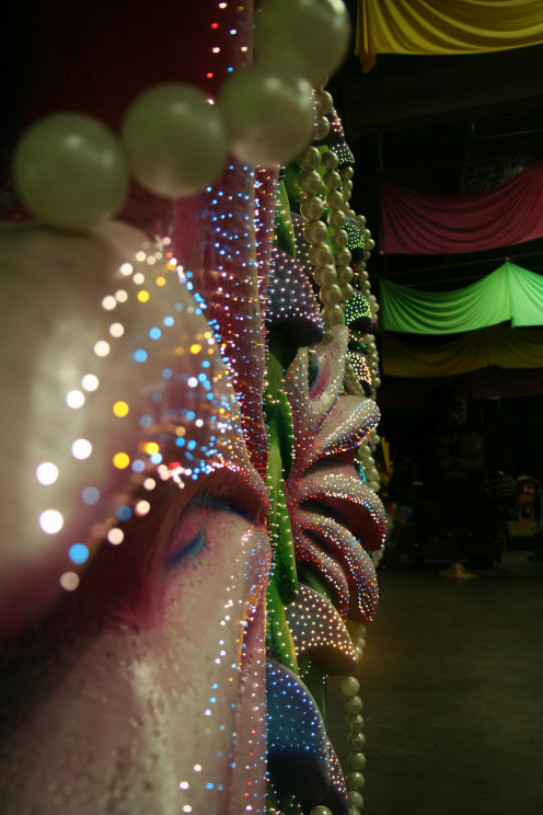 The Leviathan's lights, close up in the den at Mardi Gras World