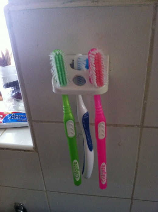 Sharing toothbrushes with others isn't a good idea.