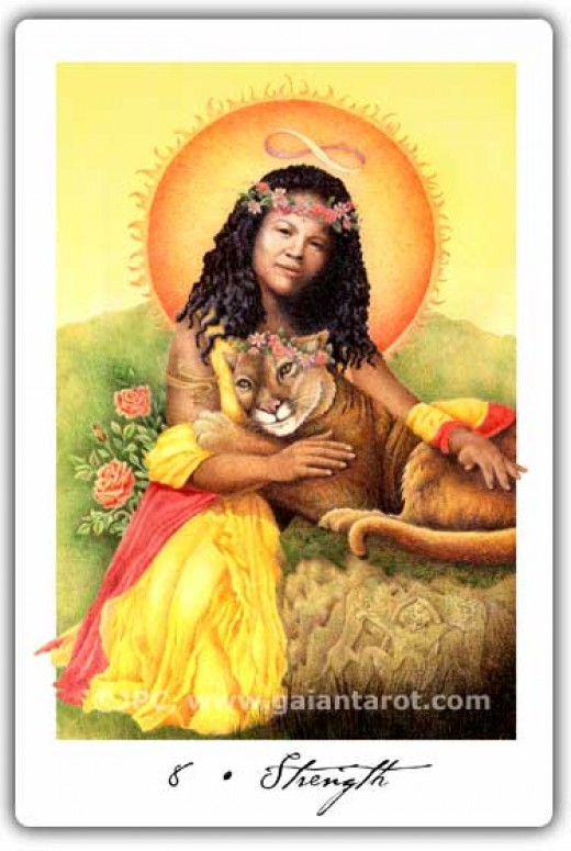 "This ""Strength"" Tarot card depicts a more feminine aspect, with a Native American woman and a feminine lion as well."