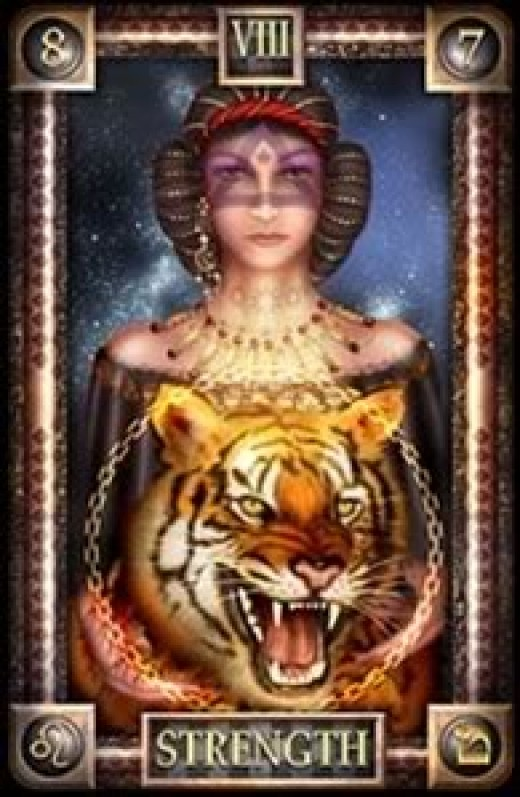 "This ""Strength"" Tarot card depicts a tiger instead of a lion."