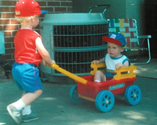 Our sons, taking turns pushing each other in the wagon... these days will be a memory before you know it!