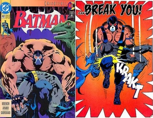 Bane is seen here if this comic book breaking Batman's back.