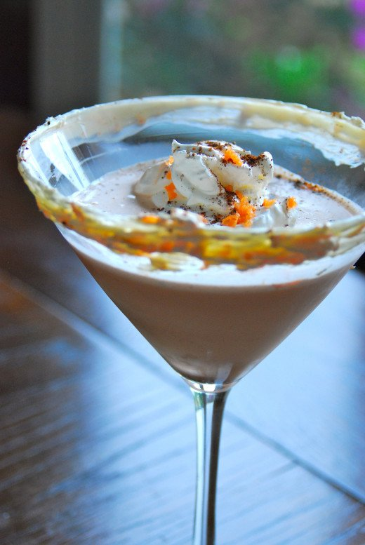 Carrot Cake Martini with carrot/cream cheese frosted rim