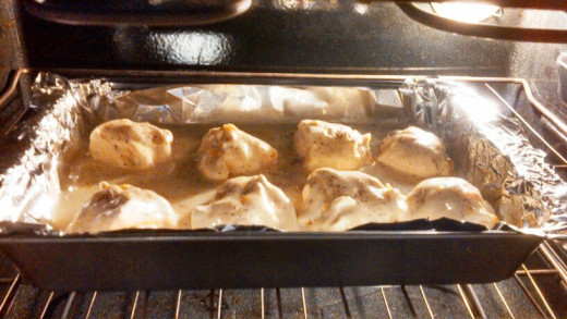 Step Seven: Pour your cream of chicken over the top and bake for 30 minutes