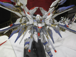 This picture displays a 1/60 perfect grade, which is usually the most expensive of the lot. In this case, it is the Strike Freedom Gundam.This was taken at one of the local competitions.