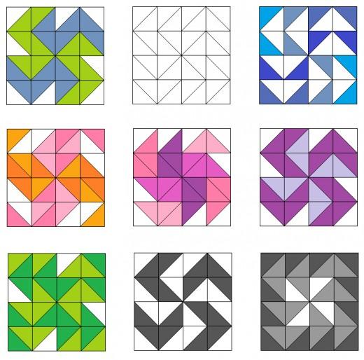 Dutchman's puzzle and variation quilt blocks