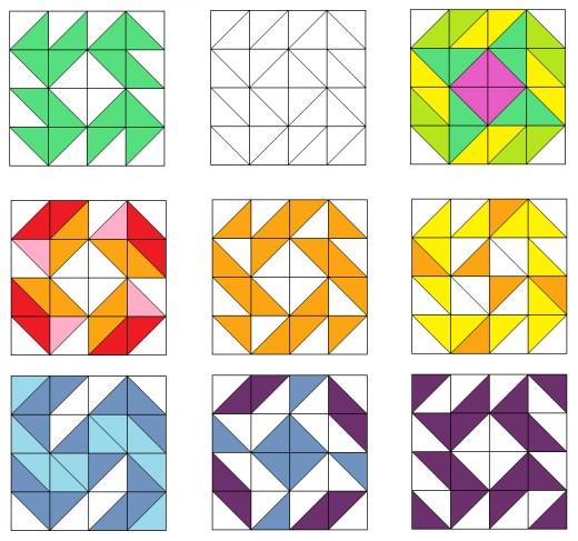 Star and spiral quilt blocks