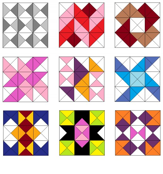Stripe and pinwheel quilt blocks