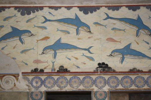 The frescoes at the Palace of Knossos (1700-1450 BCE).