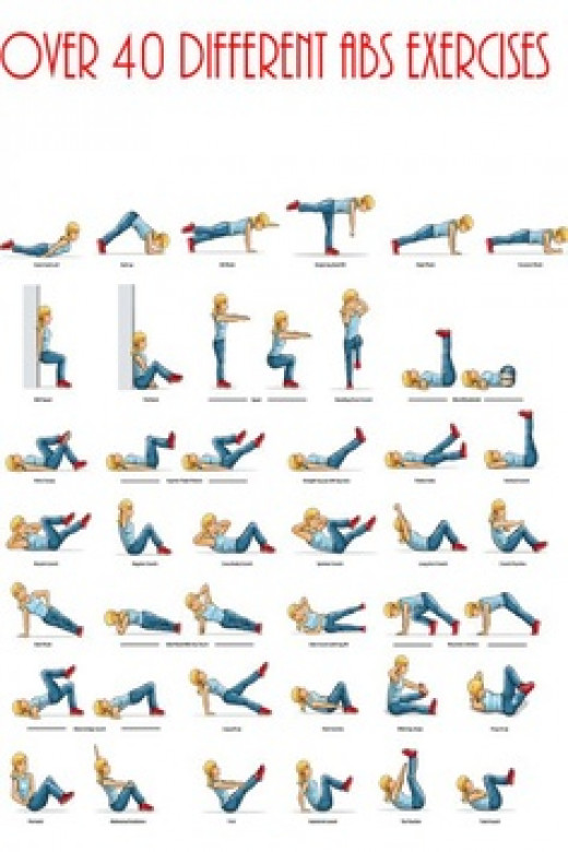 40 different exercise poses to train your abdominal and core muscles - girl in blue workout outfit