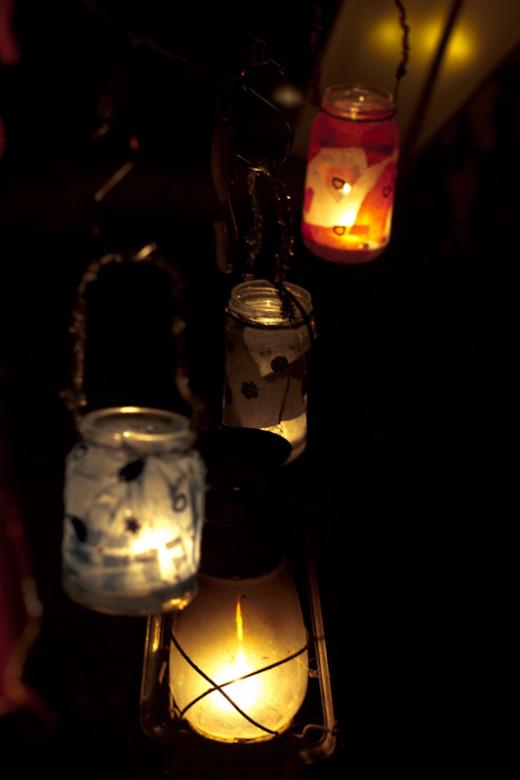 Jar Lanterns on Display