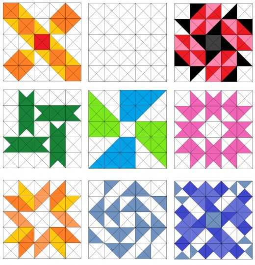 Jacob's ladder, flower and pinwheel quilt blocks