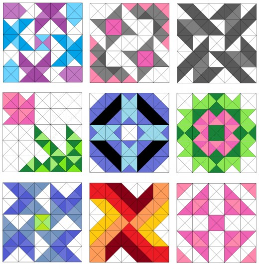 Pinwheel and flower quilt blocks
