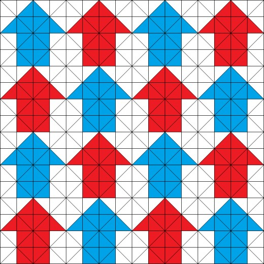 Tessellating arrows quilting pattern.