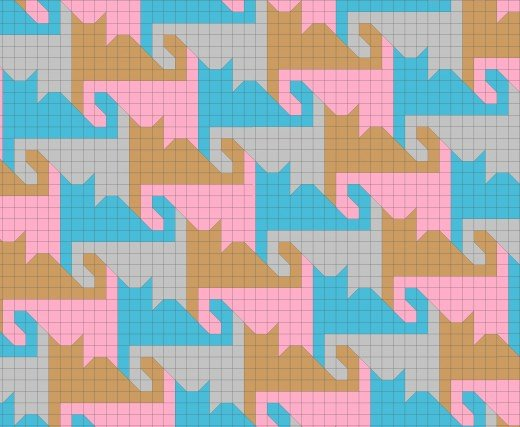 Fancy tessellating cat quilt pattern, tails curled.