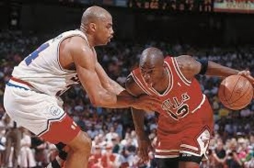 Michael Jordan always controlled the lane and could dribble past any player including Sir Charles Barkley (Pictured). Jordan competed against some of the best players in history.