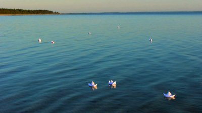 Paper boats floating away...