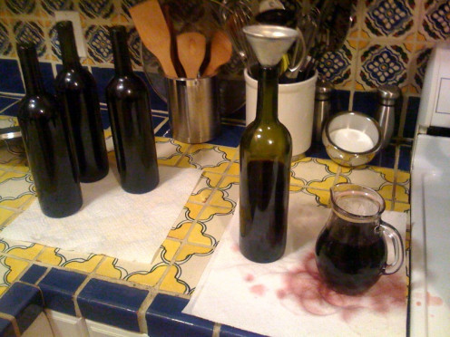 Bottling homemade wine can be a messy business.